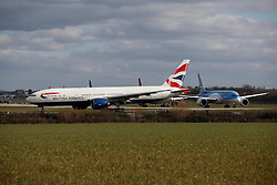 © Licensed to London News Pictures. 29/02/2016. Gatwick, UK. Planes taxi to take off on a reserve runway at Gatwick Airport in West Sussex, where the main runway has been closed due to a spillage. The main runway remains closed to all flights. Photo credit: Peter Macdiarmid/LNP