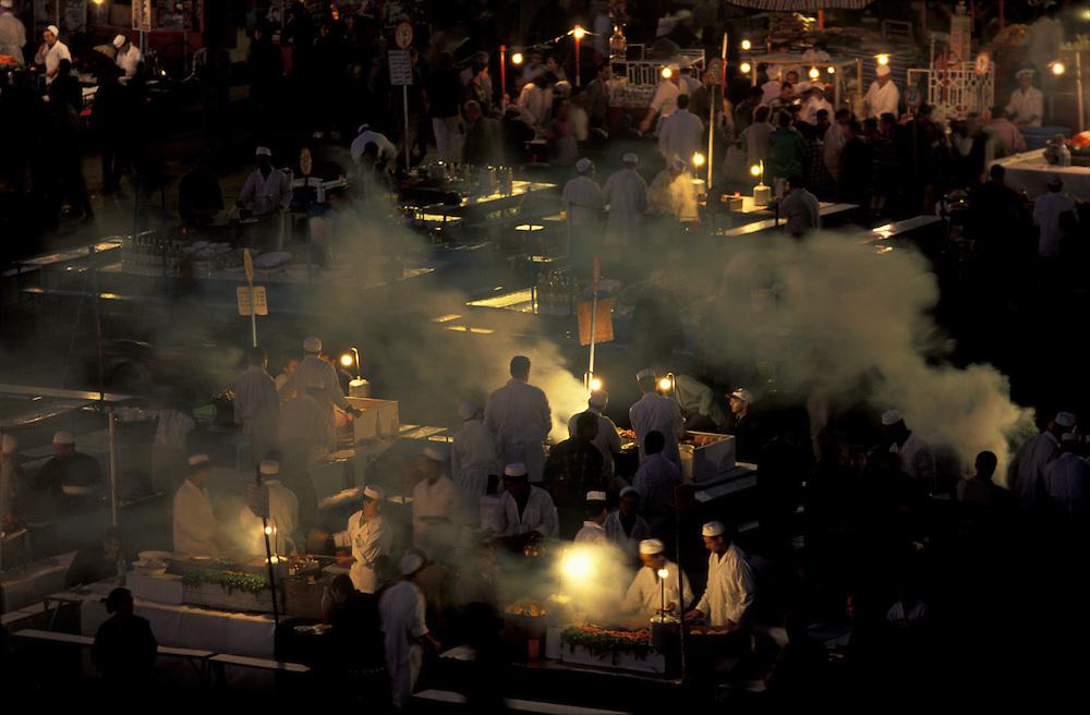 Food vendors at night on the Djemma el Fnaa, Marrakesh