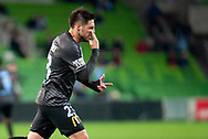 Melbourne City forward Bruno Fornaroli (23) celebrates after scoring a goal at the FFA Cup Round 16 soccer match between Melbourne City FC v Newcastle Jets at AAMI Park in Melbourne.