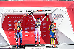 18.03.2017, Aspen, USA, FIS Weltcup Ski Alpin, Finale 2017, Slalom, Damen, Siegerehrung, im Bild Mikaela Shiffrin (USA, 2. Platz und Slalom-Weltcupsiegerin)Petra Vlhova (SVK, 1. Platz)Frida Hansdotter (SWE, 3. Platz) // second placed and Slalom World Cup winner Mikaela Shiffrin of the USArace winner Petra Vlhova of Slovakiathird placed Frida Hansdotter of Sweden during the winner award ceremony for the ladie's Slalom of 2017 FIS ski alpine world cup finals. Aspen, United Staates on 2017/03/18. EXPA Pictures © 2017, PhotoCredit: EXPA/ Erich Spiess
