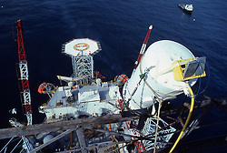 Stock photo of an overview of a semi-submersible offshore drilling rig.