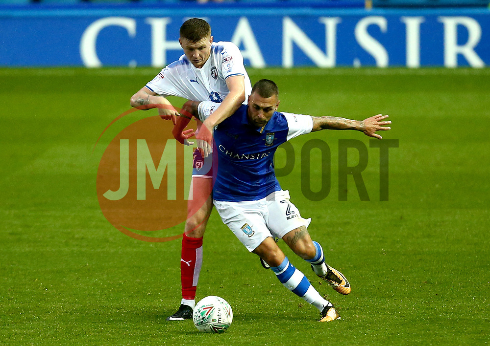 Jack Hunt of Sheffield Wednesday takes on Dion Donohue of Chesterfield. - Mandatory by-line: Robbie Stephenson/JMP - 08/08/2017 - FOOTBALL - Hillsborough - Sheffield, England - Sheffield Wednesday v Chesterfield - Carabao Cup