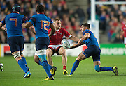 Milton Keynes, Great Britain, Sebastien TILLOUS-BORDE, showing the ball to team mates, left. Bernard LE ROUX and Wesley FOFANA, during the Pool D Game, France vs Canada.  2015 Rugby World Cup, Venue, StadiumMK, Milton Keynes, ENGLAND.  Thursday  01/10/2015<br /> Mandatory Credit; Peter Spurrier/Intersport-images]