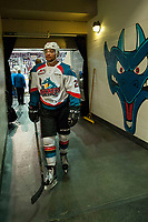 KELOWNA, CANADA - APRIL 8: Devante Stephens #21 of the Kelowna Rockets heads for the dressing room after warm up against the Portland Winterhawks on April 8, 2017 at Prospera Place in Kelowna, British Columbia, Canada.  (Photo by Marissa Baecker/Shoot the Breeze)  *** Local Caption ***