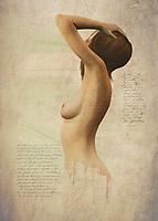 Surrounded by text and large bodies of empty space, this fine art piece depicts a woman we assume to be named Susan. She is nude, and her body is facing away from us. We can see her hands up at her hair, and we can assume she is looking intently at something that is just beyond what we ourselves can see. There is an element of compelling mystery to a piece such as this. You will be able to experience this sense of mystery for yourself, as you stare deeper and deeper into this simple-yet-profound visual. You will no doubt begin to wonder just where Susan came from, and where she's going.