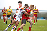 Bradford Bulls replacement Scott Moore (34) in the tackle  during the Kingstone Press Championship match between Dewsbury Rams and Bradford Bulls at the Tetley's Stadium, Dewsbury, United Kingdom on 10 September 2017. Photo by Simon Davies.