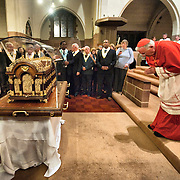 """London October 11th  Cardinal Cormack - Murphy prays at the   Church of Our Lady of Mount Carmel and St Simon Stock in Kensington  for the arrival of the relics of St Thérèse of Lisieux..St Thérèse was a French Carmelite nun whose love for nature earned her the title of """"The Little Flower of Jesus""""..***Agreed Fee's Apply To All Image Use***.Marco Secchi /Xianpix. tel +44 (0) 771 7298571. e-mail ms@msecchi.com .www.marcosecchi.com"""