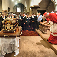 "London October 11th  Cardinal Cormack - Murphy prays at the   Church of Our Lady of Mount Carmel and St Simon Stock in Kensington  for the arrival of the relics of St Thérèse of Lisieux..St Thérèse was a French Carmelite nun whose love for nature earned her the title of ""The Little Flower of Jesus""..***Agreed Fee's Apply To All Image Use***.Marco Secchi /Xianpix. tel +44 (0) 771 7298571. e-mail ms@msecchi.com .www.marcosecchi.com"