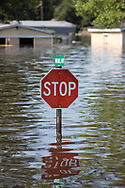 Sept 1, 2017 flooded road  in Vidor, Texas. Hurricane Harvey, was downgraded to a tropical storm when it flooded Vidor, Texas and the surroundingarea.