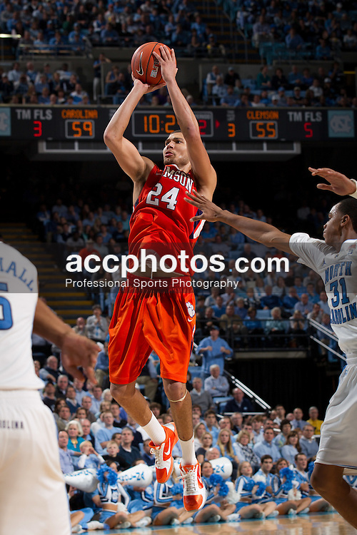 CHAPEL HILL, NC - JANUARY 18: Milton Jennings #24 of the Clemson Tigers shoots the ball while playing the North Carolina Tar Heels on January 18, 2011 at the Dean E. Smith Center in Chapel Hill, North Carolina. North Carolina won 65-75. (Photo by Peyton Williams/UNC/Getty Images) *** Local Caption *** Milton Jennings