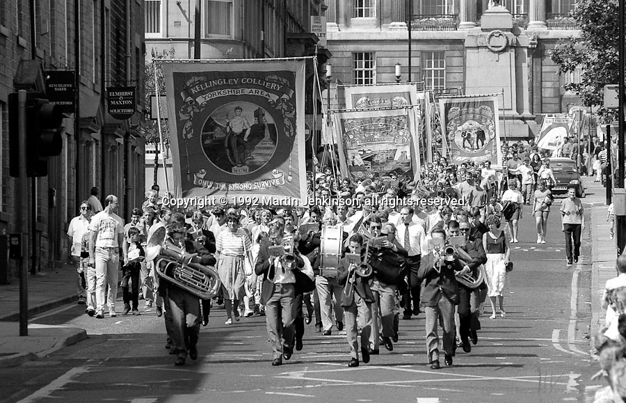 Kellingley Colliery Branch banner. 1992 Yorkshire Miners Gala, Barnsley.