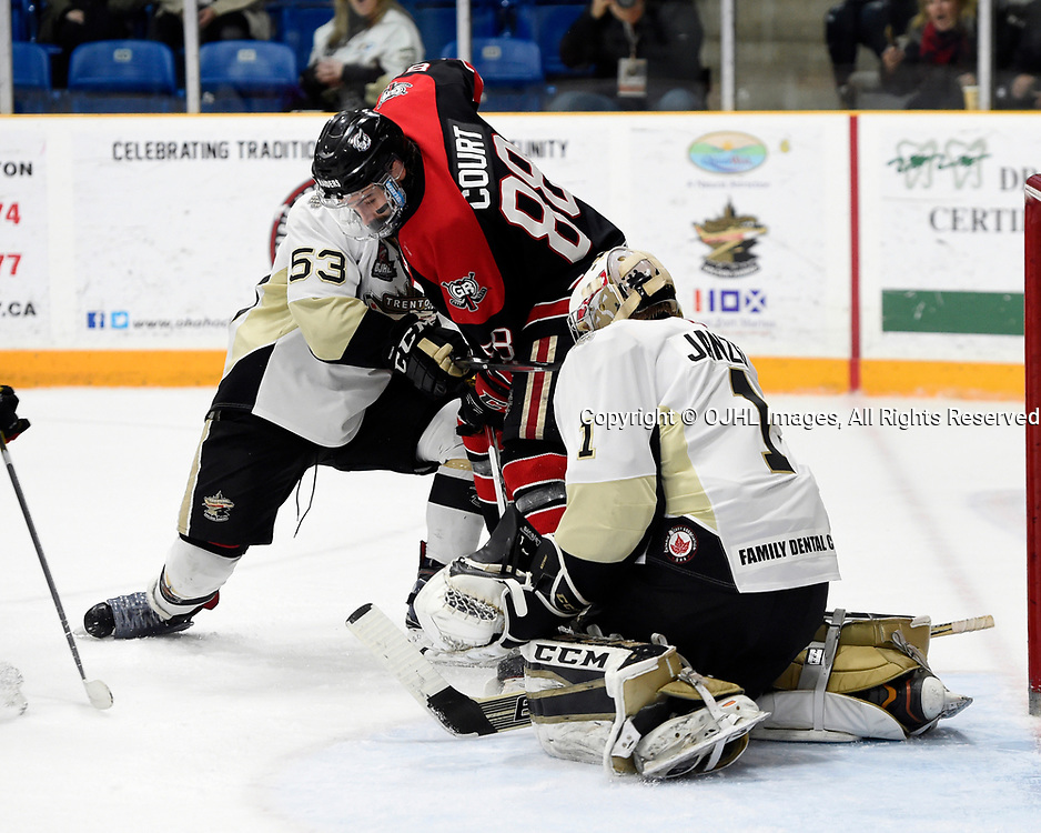 TRENTON, ON  - MAY 3,  2017: Canadian Junior Hockey League, Central Canadian Jr. &quot;A&quot; Championship. The Dudley Hewitt Cup. Game 4 between Georgetown Raiders and the Trenton Golden Hawks. Josh Allan #53 and Chris Janzen #1 of the Trenton Golden Hawks protects the crease from Andrew Court #88 of the Georgetown Raiders during the third period.<br /> (Photo by Andy Corneau / OJHL Images)