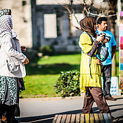 Middle Eastern tourists in Istanbul, Turkey.