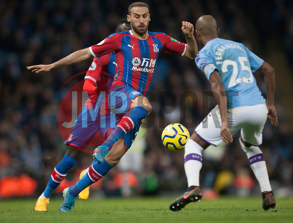 Cenk Tosun of Crystal Palace (C) in action - Mandatory by-line: Jack Phillips/JMP - 18/01/2020 - FOOTBALL - Etihad Stadium - Manchester, England - Manchester City v Crystal Palace - English Premier League