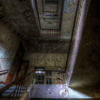 An abandoned hospital with abandoned staircase