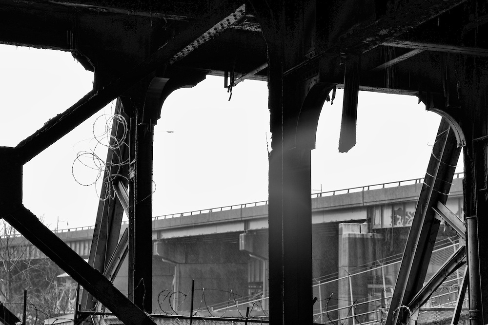 Underneath a neglected overpass in Jersey City, NJ.