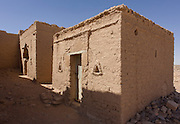 The Exodus chapel in al-Bagawat Coptic necropolis, the remains of mud brick Christian tombs in the Western Desert, Egypt. Al-Bagawat, (also, El-Bagawat) one of the oldest and best preserved ancient Christian cemeteries in the world, which functioned at the Kharga Oasis in southern-central Egypt from the 3rd to the 7th century AD. Coptic frescoes of the 3rd to the 7th century are found on the walls and there are 263 funerary chapels of which the Chapel of Exodus (5th or 6th century) and Chapel of Peace (of mid 4th century) have frescoes.