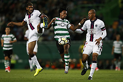 October 22, 2017 - Lisbon, Portugal - Sporting's forward Gelson Martins  (C) vies for the ball with Chaves's defender Djavan (L) and Chaves's defender Anderson Conceicao (R)  during Primeira Liga 2017/18 match between Sporting CP vs GD Chaves, in Lisbon, on October 22, 2017. (Credit Image: © Carlos Palma/NurPhoto via ZUMA Press)