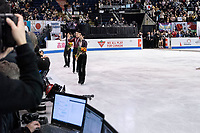 KELOWNA, BC - OCTOBER 26: Mens long program gold medalist, Japanese skater Yuzuru Hanyu (c), silver medalist, Canadian figure skater Nam Nguyen (l) and bronze medalist, Japanese skater Keiji Tanaka (r) stand on the ice at Prospera Place on October 26, 2019 in Kelowna, Canada. (Photo by Marissa Baecker/Shoot the Breeze)
