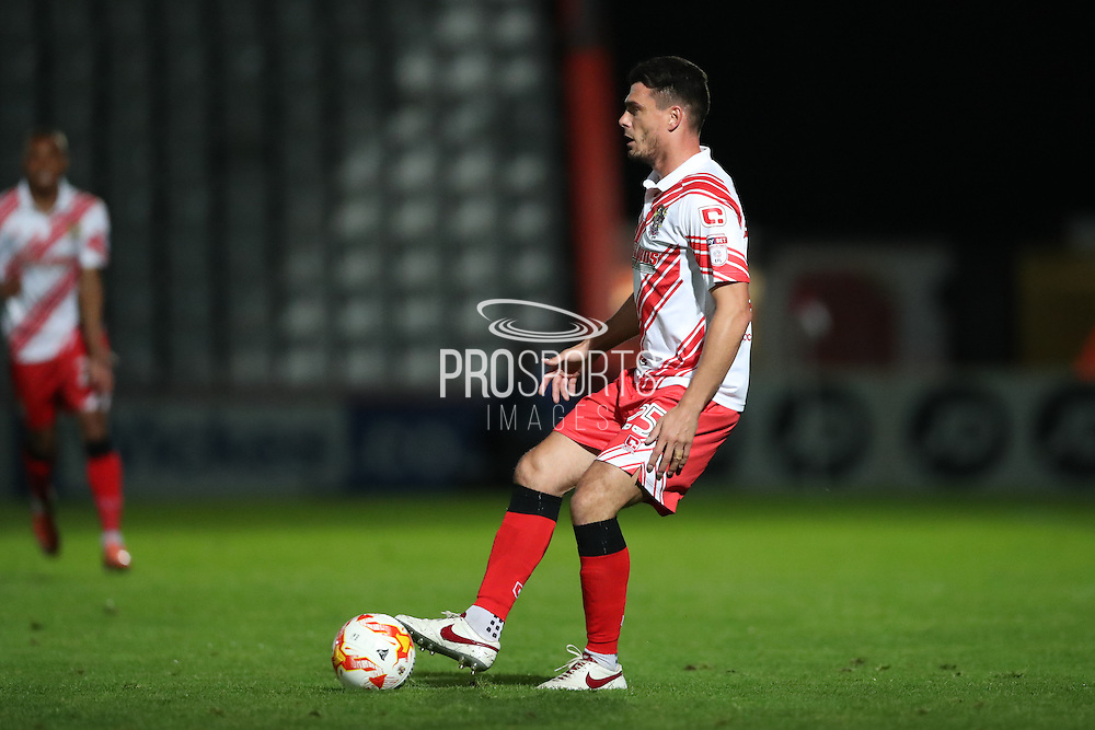 Stevenage defender Ronnie Henry (25) during the EFL Trophy match between Stevenage and Brighton and Hove Albion at the Lamex Stadium, Stevenage, England on 4 October 2016.