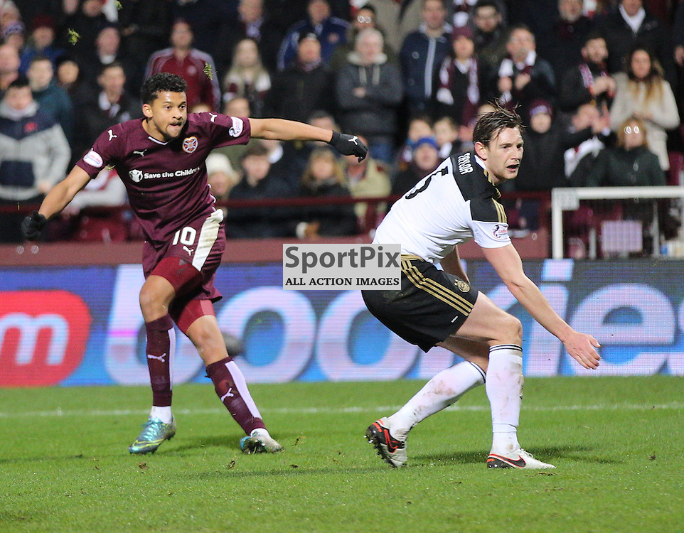 Hearts v Aberdeen Scottish Cup 9 January 2016; Osman Sow (Hearts, 10) shoots wide during the Heart of Midlothian v Aberdeen William Hill Scottish Cup fourth round match played at Tynecastle Stadium, Edinburgh; <br /> <br /> &copy; Chris McCluskie | SportPix.org.uk
