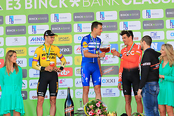 Beers all round from one of the sponsors for Zdenek Stybar (CZE) Deceuninck-Quick Step winner with Wout Van Aert (BEL) Team Jumbo-Visma 2nd and Greg Van Avermaet (BEL) CCC Team in 3rd place on the podium at the end of the 2019 E3 Harelbeke Binck Bank Classic 2019 running 203.9km from Harelbeke to Harelbeke, Belgium. 29th March 2019.<br /> Picture: Eoin Clarke | Cyclefile<br /> <br /> All photos usage must carry mandatory copyright credit (© Cyclefile | Eoin Clarke)
