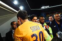 Joie PSG Champion - Salvatore SIRIGU / Nasser AL KHELAIFI - 16.05.2015 - Montpellier / Paris Saint Germain - 37eme journee de Ligue 1<br />Photo : Alexandre Dimou / Icon Sport