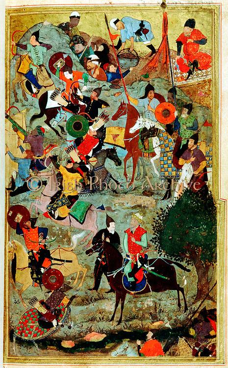 Tamerlaine (Tamerlane/Timur-i-Lang) 1336-1404 Turkic conqueror. Timur attacking Knights of St John at Smyrna. Miniature by Bihzad 1467.