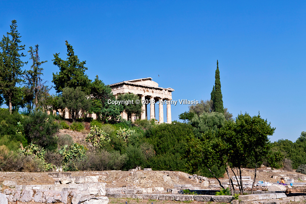 The Temple of Hephaestus viewed from the Old Bouleuterion and the Metroon.<br />