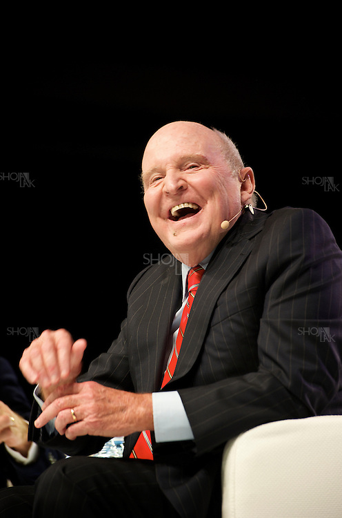 September 27, 2013. Jyväskylä, Finland. Jack Welch, former chairman of General Electric Co. (GE), speaks at the Nordic Business Forum seminar in Jyväskylä, Finland. (Photo by Shoja Lak)