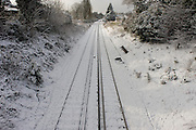 Empty aerial mid-winter landscape of local railway tracks in Dulwich, south London.