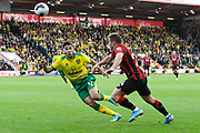 Ryan Fraser (24) of AFC Bournemouth on the attack battles for possession with Emi Buendia (17) of Norwich City during the Premier League match between Bournemouth and Norwich City at the Vitality Stadium, Bournemouth, England on 19 October 2019.