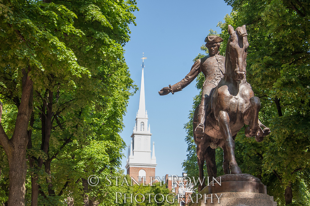 Paul Revere Statue and Old North Church, Boston North End