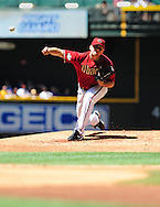 May 1 2011; Phoenix, AZ, USA; Arizona Diamondbacks starting pitcher Daniel Hudson (41) delivers a pitch during the first inning against the Chicago Cubs at Chase Field. Mandatory Credit: Jennifer Stewart-US PRESSWIRE.