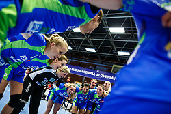 Players of Slovenia during qualifying match for world championship between Slovenia and Croatia in Dvorana Golovec , Celje, Slovenia. Photo by Grega Valancic / Sportida