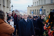 About 10000 Czech citizens accompanied the remains of Vaclav Havel from the Old Town part in Prague across Charles Bridge   up to Prague Castle, the seat of Czech presidents. On the right side Vaclav Havel's wife Dagmar Havlova and her daughter Nina at Nerudova street.