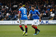 Daniel Candeias of Rangers with James Tavernier of Rangers during the Ladbrokes Scottish Premiership match between St Mirren and Rangers at the Simple Digital Arena, Paisley, Scotland on 3 November 2018.