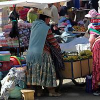 Souoth America, Bolivia, La Paz. Street market scene of El Alto neighborhood of La Paz.