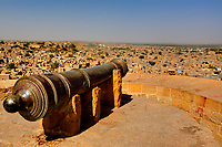 cannon protecting jaisalmer in rajasthan state in india