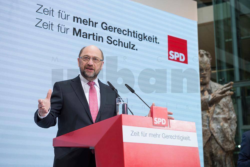 30 JAN 2017, BERLIN/GERMANY:<br /> Martin Schulz, SPD, Kanzlerkandidat und designierter Parteivorsitzender, waehrend einer Pressekonferenz nach der Klausurtagung der SPD Spitze, Willy-Brandt-Haus<br /> IMAGE: 20170130-01-007