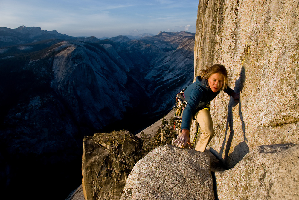 Kate Rutherford on a free ascent of the Regular Northwest Face of Half Dome, V 5.12, Yosemite, CA