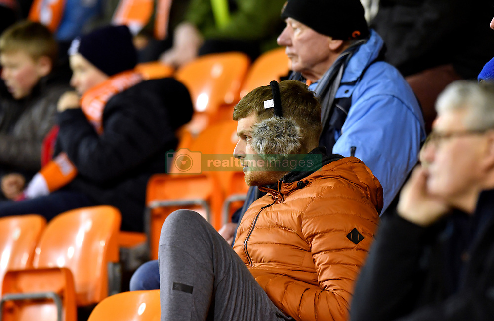 """Blackpool fans in the stands during the Emirates FA Cup, third round match at Bloomfield Road, Blackpool. PRESS ASSOCIATION Photo. Picture date: Saturday January 5, 2019. See PA story SOCCER Blackpool. Photo credit should read: Anthony Devlin/PA Wire. RESTRICTIONS: EDITORIAL USE ONLY No use with unauthorised audio, video, data, fixture lists, club/league logos or """"live"""" services. Online in-match use limited to 120 images, no video emulation. No use in betting, games or single club/league/player publications."""