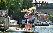 Henley, England.   GBR W8+, racing at Henley as Imperial London and Sport Imperial, carry their boat into Leander Club, after their Race. 2015 Henley Royal Regatta, Henley Reach, River Thames, 12:13:18  Friday  03/07/2015   [Mandatory Credit. Peter SPURRIER/Intersport Images. .   Empacher.