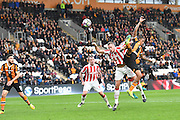Hull City striker Abel Hernandez (9) heads towards goal during the Premier League match between Hull City and Stoke City at the KCOM Stadium, Kingston upon Hull, England on 22 October 2016. Photo by Ian Lyall.