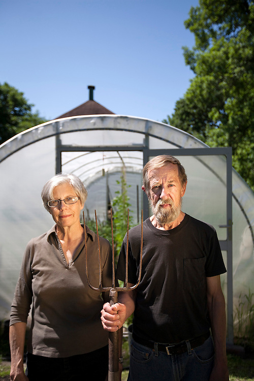Kathryn and David Brewer of Brewer Gardens stand by their hoop house in New Brighton June 13, 2014.
