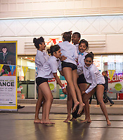 (c)Licensed to London News Pictures. 30/06/2014. London. England. Goop! performing Dali's Nightmare at U.Dance2014 Fringe in the intu Broadmarsh centre. The National Youth Dance Festival Fringe is at UDance2014, Nottingham. This year UDance2014; the national youth dance festival created to share the breadth and diversity of youth dance that is being created in the UK and to train and inspire the dancers themselves, was in Nottingham. This year about 450 invited performers and roughly an additional 200 members of the public participated directly in the Fringe, some of whom are featured in this image. There were also approximately 650 invited young dancers participating performances and workshops. The festival was created by Youth Dance England working with Dance4 and a range of other partners. Photo credit Carole Edrich/LNP