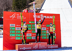 24.03.2019, Planica, Ratece, SLO, FIS Weltcup Ski Sprung, Skisprung, Finale, Siegerehrung, Gesamtweltcupwertung, im Bild Podium Gesamtweltcup2. Platz Stefan Kraft (AUT), Gesamtweltcupsieger Ryoyu Kobayashi (JPN), 3. Platz Kamil Stoch (POL) // 2nd placed Stefan Kraft of Austria Overall Worldcup Winner Ryoyu Kobayashi of Japan 3rd placed Kamil Stoch of Poland during the allover winner Ceremony for the FIS Ski Jumping World Cup Final 2019. Planica in Ratece, Slovenia on 2019/03/24. EXPA Pictures © 2019, PhotoCredit: EXPA/ JFK