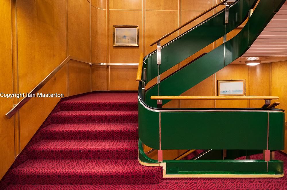 Stairway of Queen Elizabeth 2 former ocean liner now reopened as hotel in Dubai , United Arab Emirates