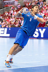10.04.2016, Ergo Arena, Gdansk, POL, IHF Herren, Olympia Qualifikation, Chile vs Mazedonien, im Bild Javier Frelijj // during the IHF men's Olympic Games handball qualifier between Chile and Macedonia at the Ergo Arena in Gdansk, Poland on 2016/04/10. EXPA Pictures © 2016, PhotoCredit: EXPA/ Newspix/ Tomasz Zasinski<br /> <br /> *****ATTENTION - for AUT, SLO, CRO, SRB, BIH, MAZ, TUR, SUI, SWE only*****
