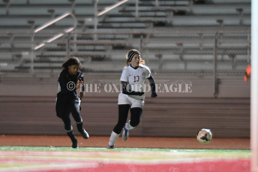 Lafayette High's Sara Grace Moore (13) vs. Cleveland High in girls high school soccer action at William L. Buford Stadium in Oxford, Miss. on Thursday, January 5, 2017.
